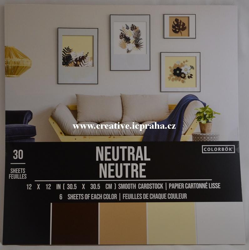 tónkarton 30.5x30,5 210g/m2 - 30ks Neutrální barvy