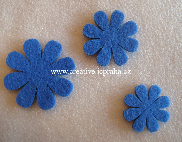 pěna - kytičky - 3ks - modré