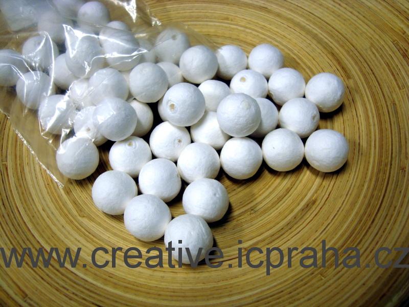 kuličky vatové - bílé 1,8cm-díra bal.50ks 41004450