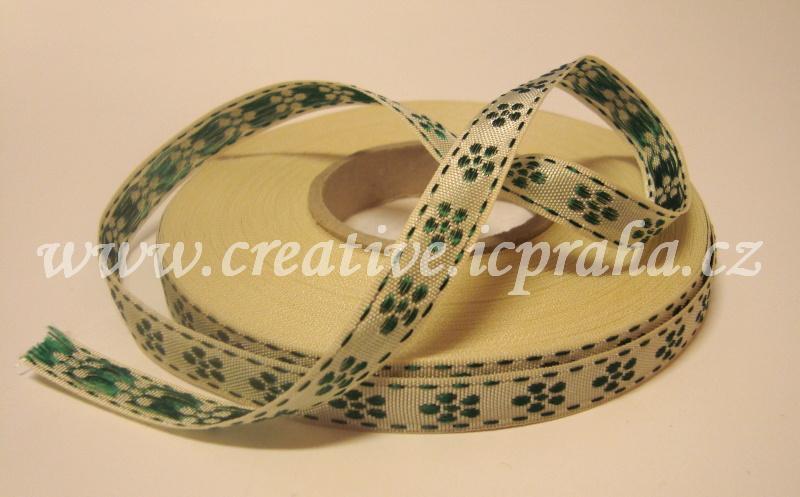 Stuha taftová 10mm - natur + zelené kytičky