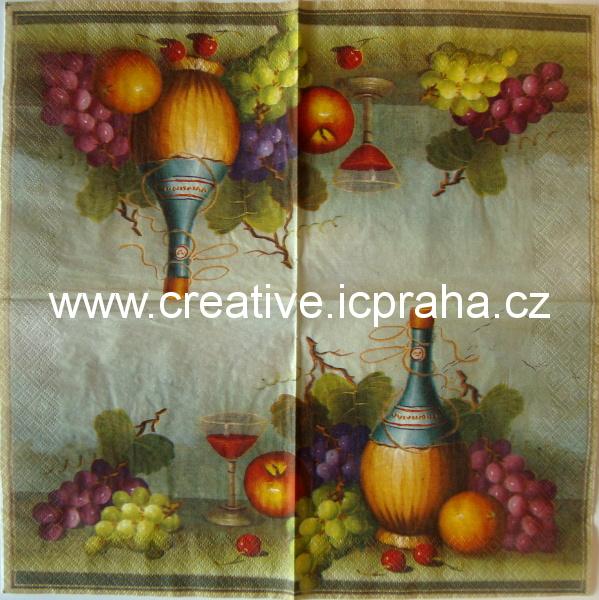 víno-zátiší se třemi třešněmi  PAW
