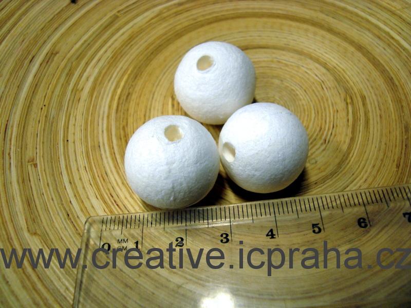 kuličky vatové - bílé 2,2cm-díra 41004550/ks