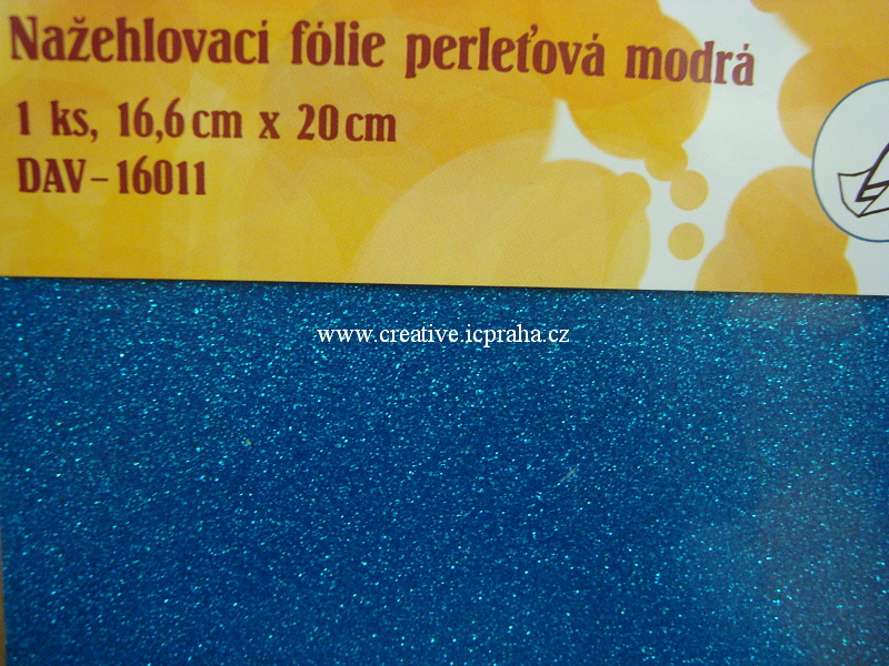 nažehl. folie - 20x16,6cm modrá glitr
