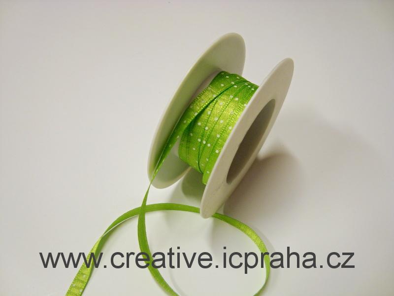 Stuha  atlas - 6mm - puntík - zelená
