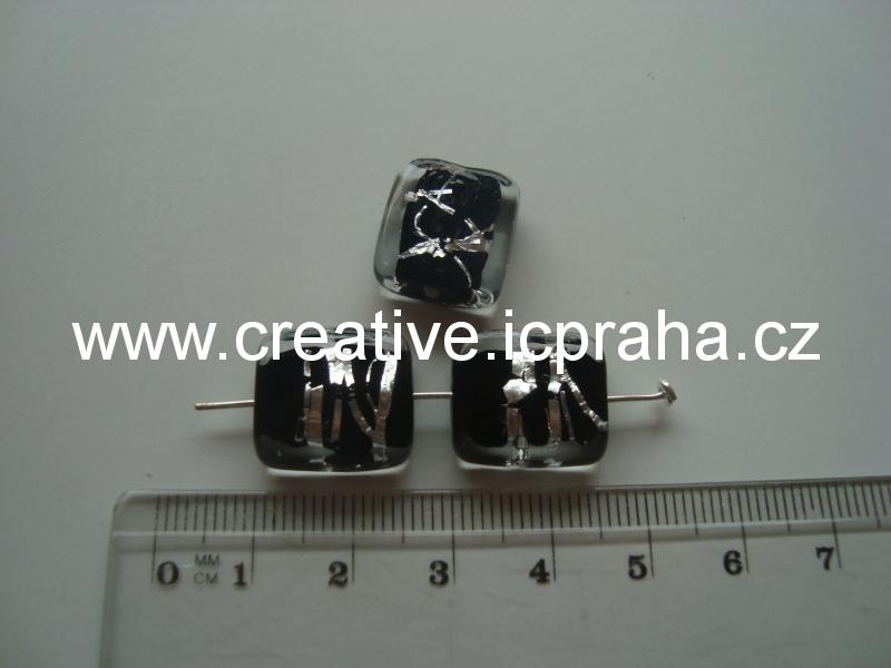 placka čirá/černá/stříbro 48032 14x11mm