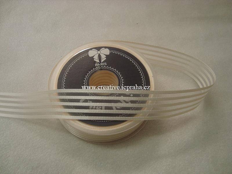 Stuha schiffon 25mm - béžová s proužky