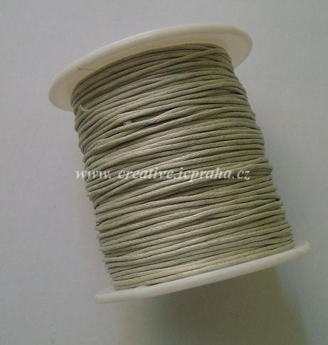 Povoskovaná šňůrka, zelenošedá 1mm/1m