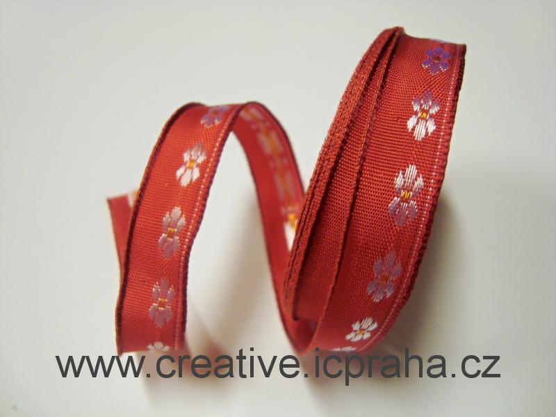 stuha-drátek-kytičky 15mm - červená 377301