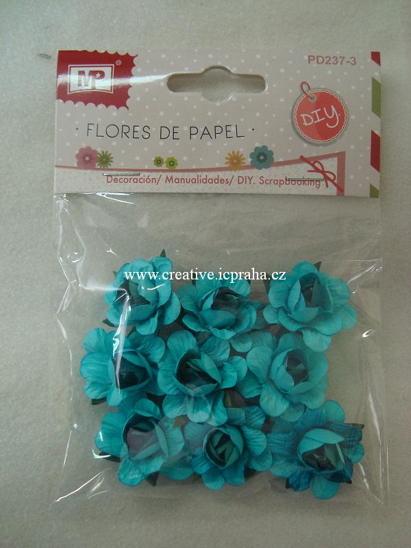 kytičky růže - tyrkysové 9ks PD237-3a