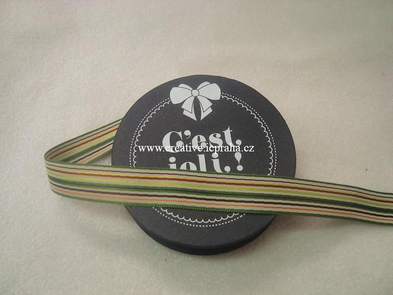 Stuha proužky - zelená 100% PES - 1,5cmx3m