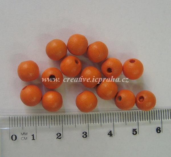 dřevěné korálky 8mm bal.25ks oranžová