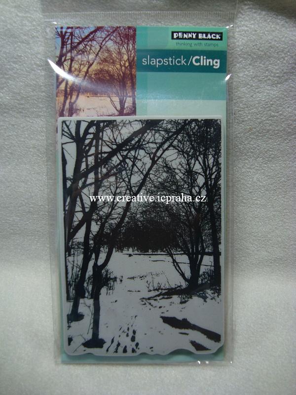 razítka Cling PB - Stomy, zimní krajinka3D 14x10cm