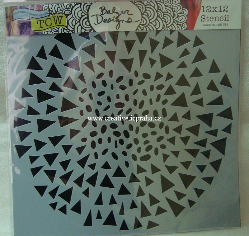 šablona plast TCW 30x30cm Triangle mandala 830