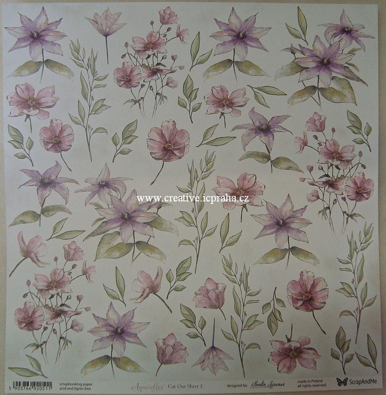 ScrapAndMe Aquar/Flowers 2 30.5x30.5cm 250g/m2