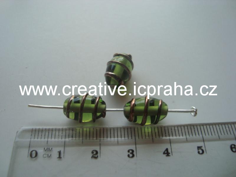 olivka zelená se spirálkou 29007 12x8mm