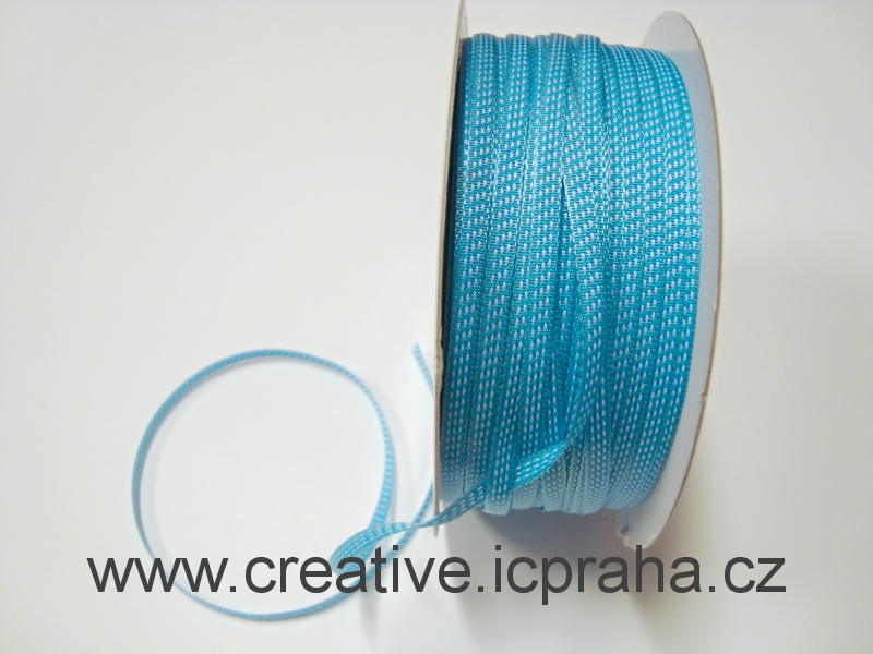stuha 4mm modrá+bílá