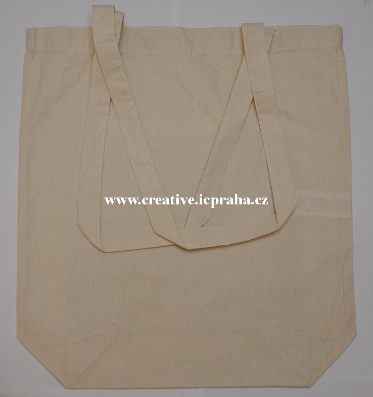 bavlněná taška 38x42x11,5cm - natur dl. ucho/dno