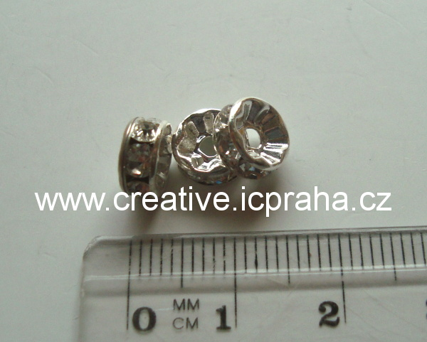 rondelka - 8mm krystal - platina