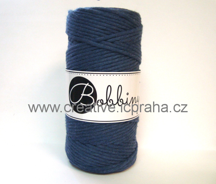 BobbinyMacrame Regular100m/3mm - modrá Jeans