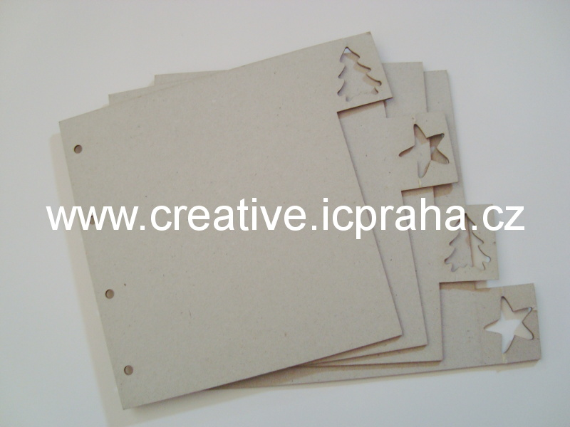 Minialbum - 4listy - strom.hvě.obdel. 19,7x17,5cm