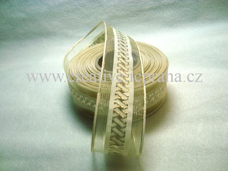 stuha-drátek-krémová +zl.spirálky 40mm