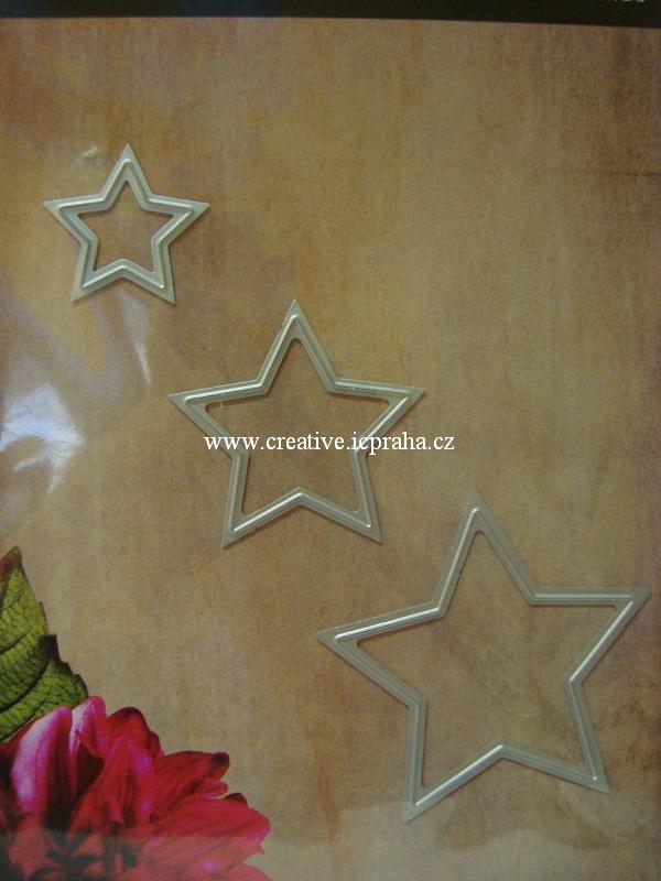 vyřezávací šablona  Paperrose - Hvězdy malé 3ks