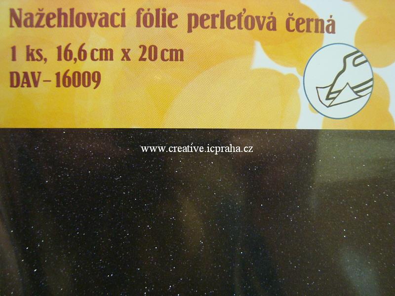 nažehl. folie - 20x16,6cm černá glitr