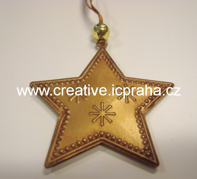 kov - hvězda 6,5cm stříbrná, zlatá