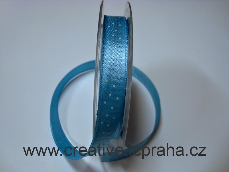 Stuha  atlas - 15mm modrá s puntíky