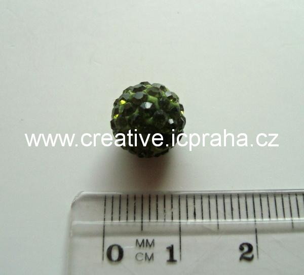 kulička se šatony 10mm - peridot 16