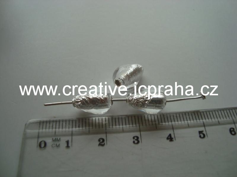 hruška čirá/stříbro 50016 12x8mm