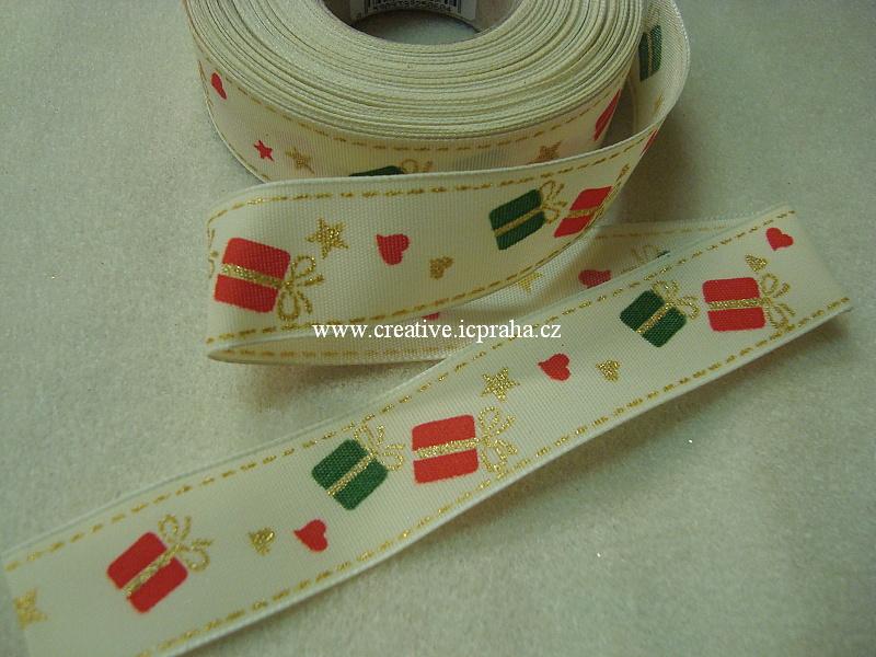 Stuha-drátek 25mm dárečky - krémová