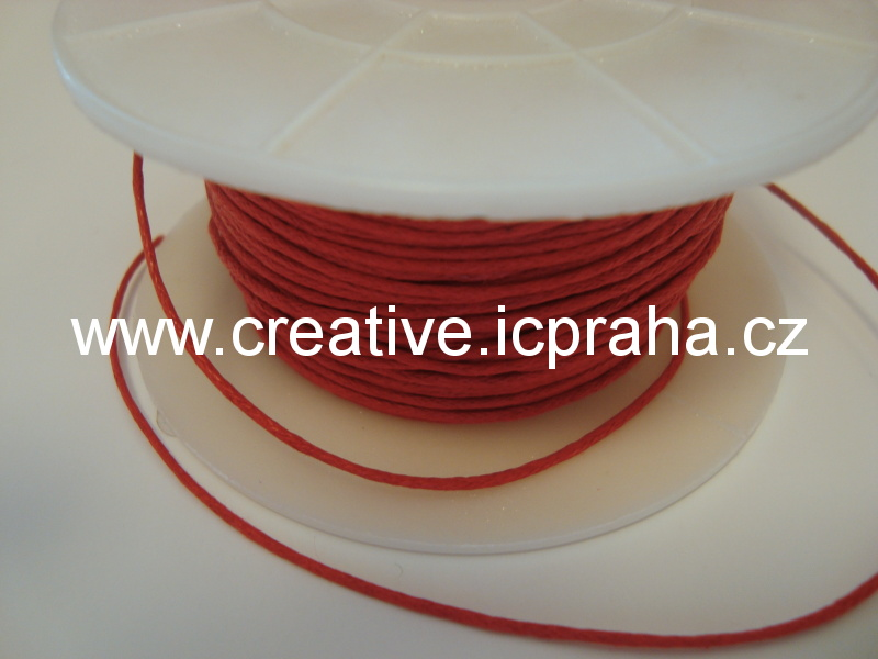 Povoskovaná šňůrka, červená 1mm