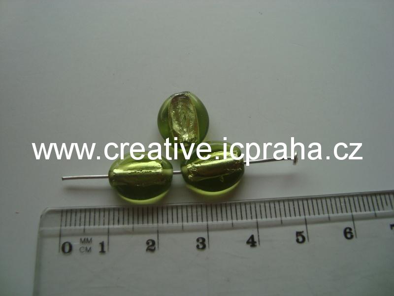 placka zelená/stříbro 28018 12x8mm