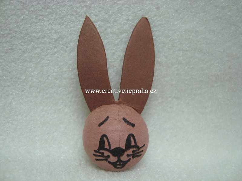 obličej (25mm) - hnědý zajíc s ušima 41004010