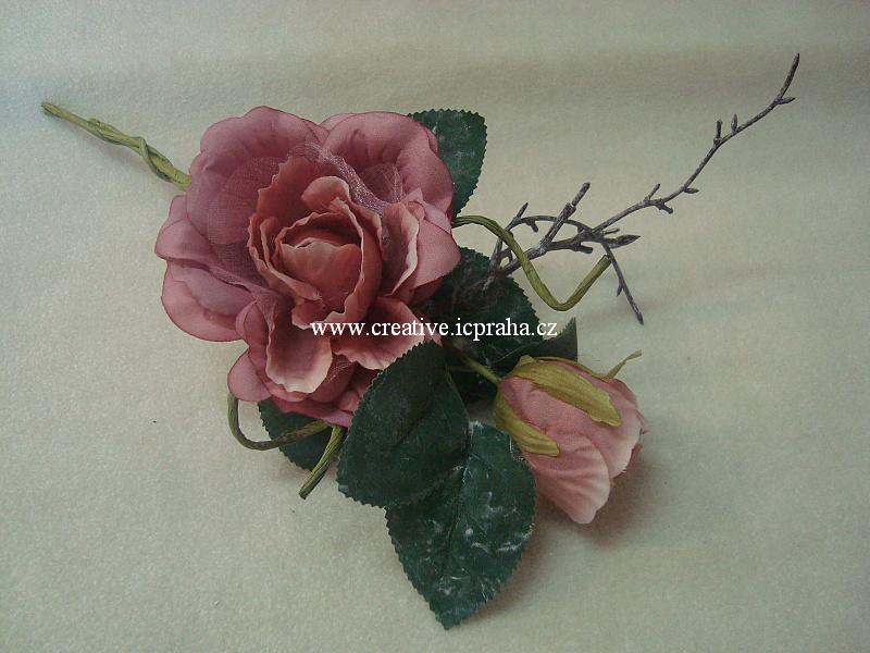 růže s větvičkou  květ+poupě -růžová