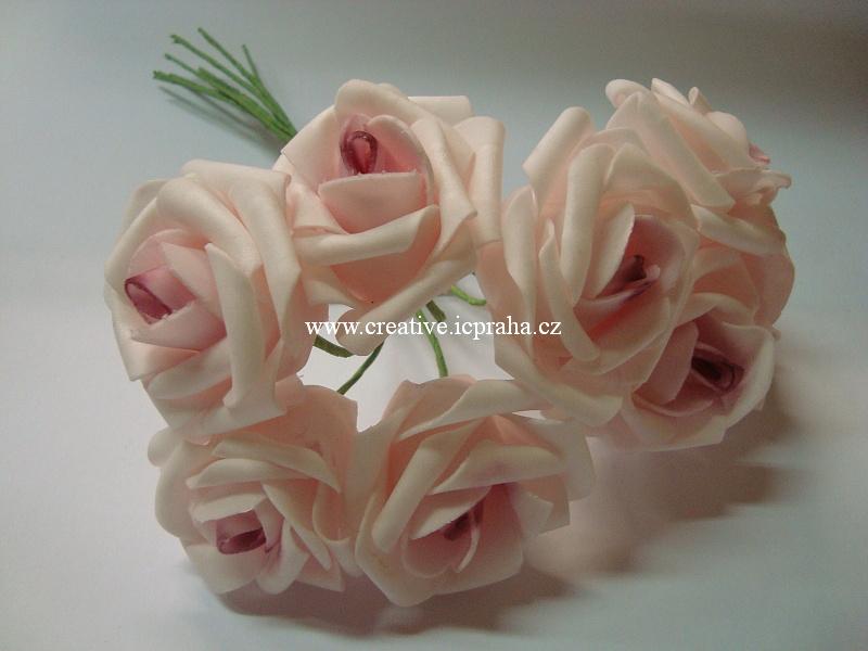 pryž - růže růžová sv. květ vel.cca 6x7cm