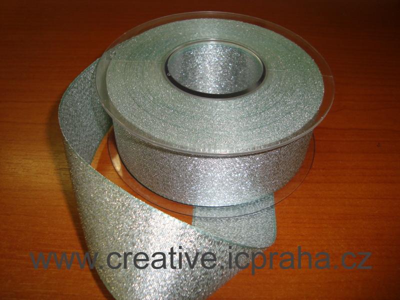stuha-brokát-stříbrná 40mm