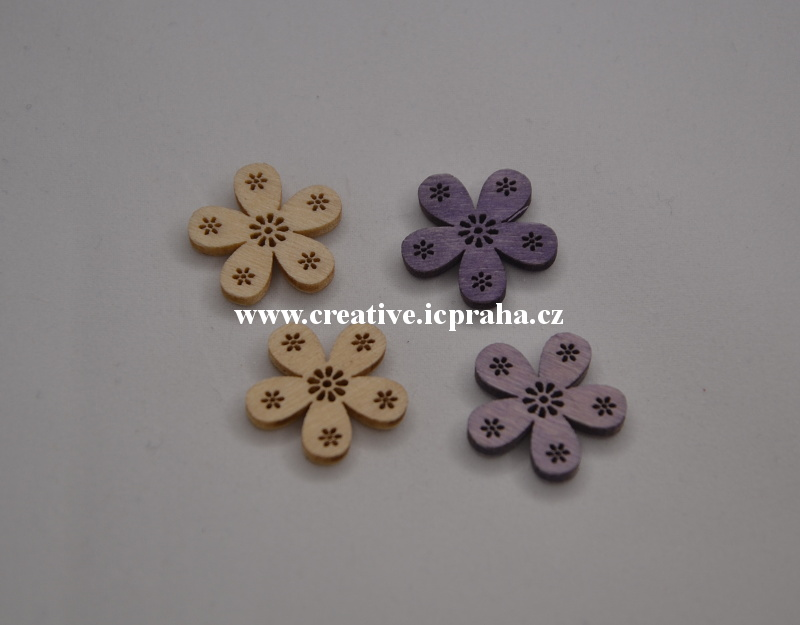 dřevo - kytka 2cm/4ks - natur/fialová