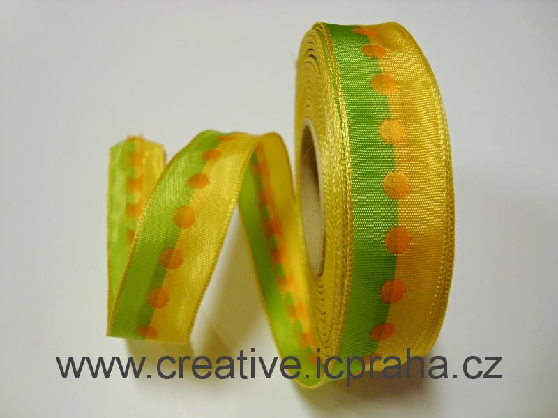 stuha-drátek-žlutozelená s puntíkem 25mm