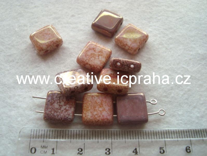 čtverečky dvoudírkové fialovohnědé 12x12 bal.10ks