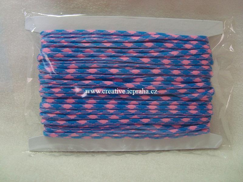 paracord 4mm růžová+modrá 1m