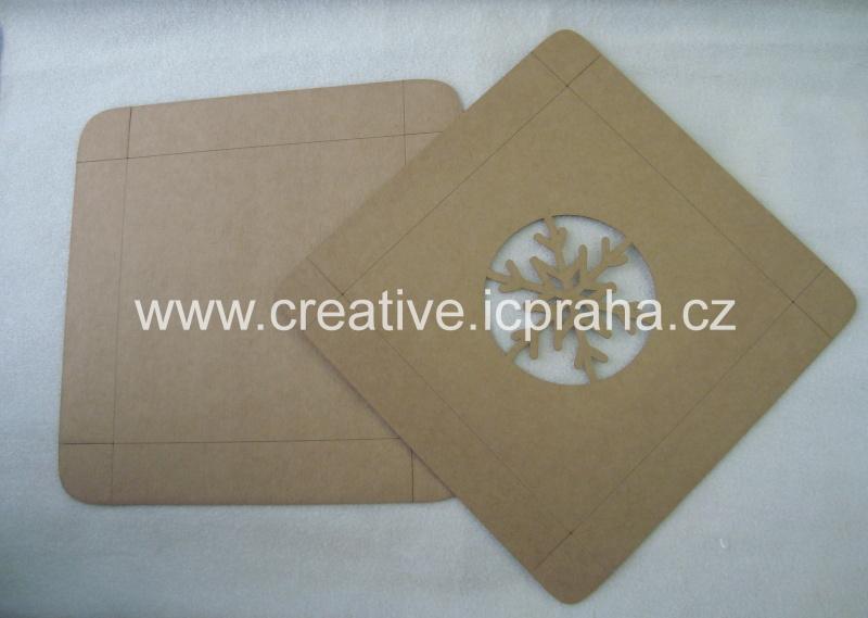 krabička - víko s vločkou 15x15x3cm kraft