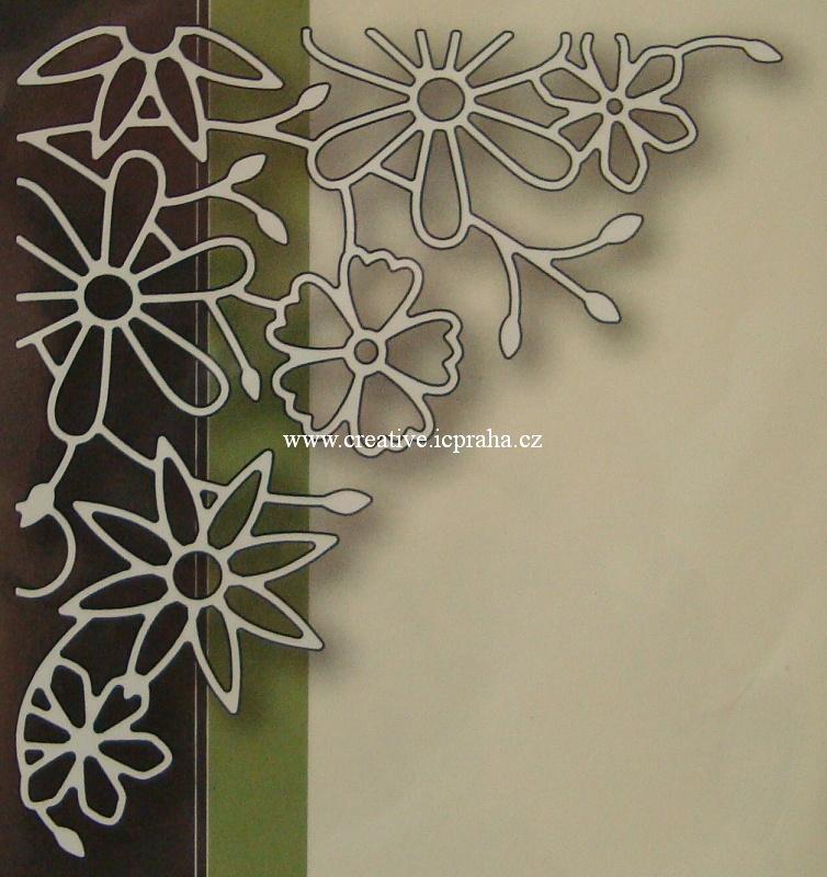 vyřezávací šablona  Poppy - Květinový roh