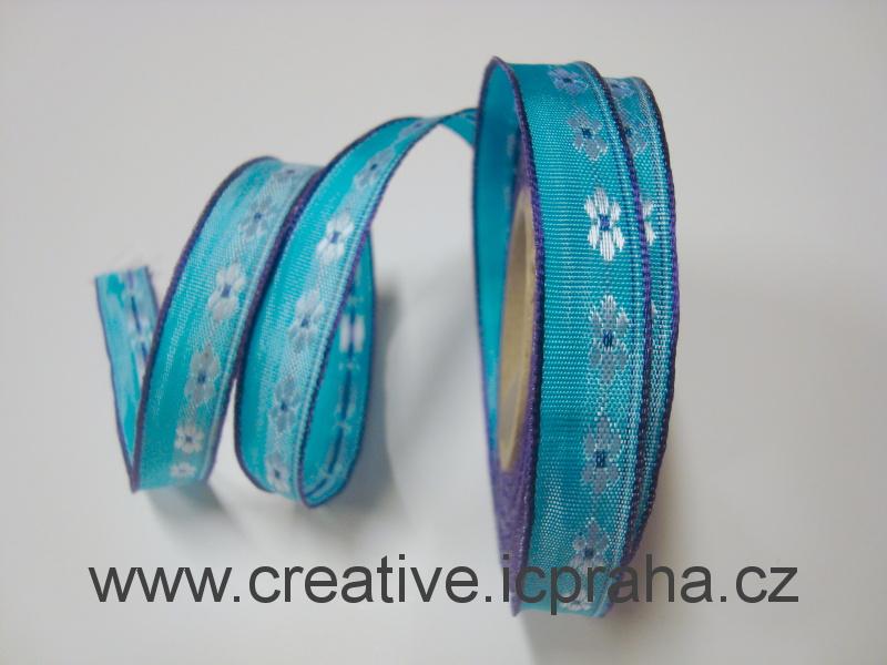 stuha-drátek-kytičky 15mm - modrofialová 377306