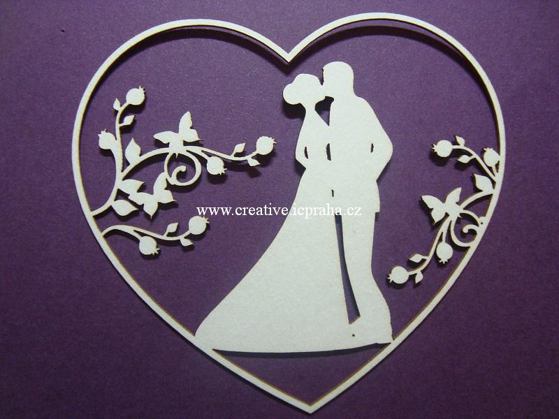 výřezy novomanželé/ srdce -  2ks 8,3x9,1cm
