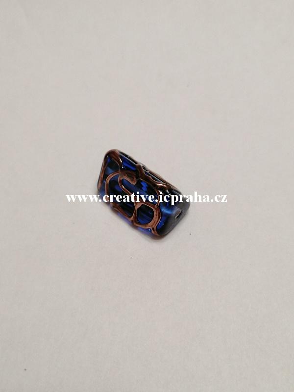 trohránek modrý/mřížka 43098 16x8mm