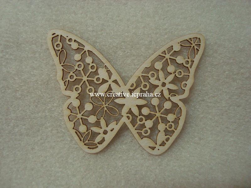 výřezy motýlci krajkoví 3ks 3,7x5cm