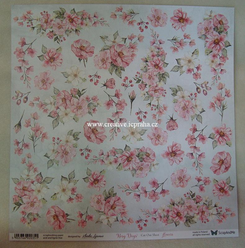ScrapAndMe RosyDays Flowers 30.5x30.5cm 250g/m2