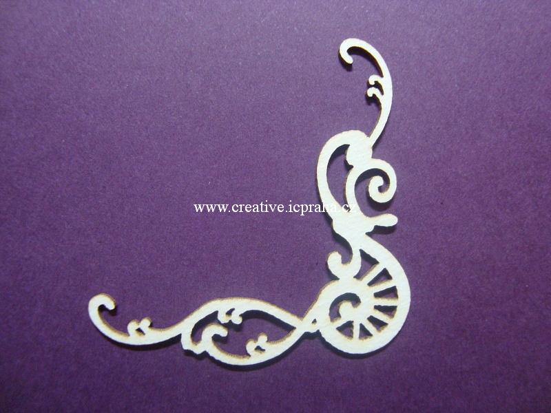 výřezy ornamenty/bordury se spirálkou 4 ks 3,5x4cm